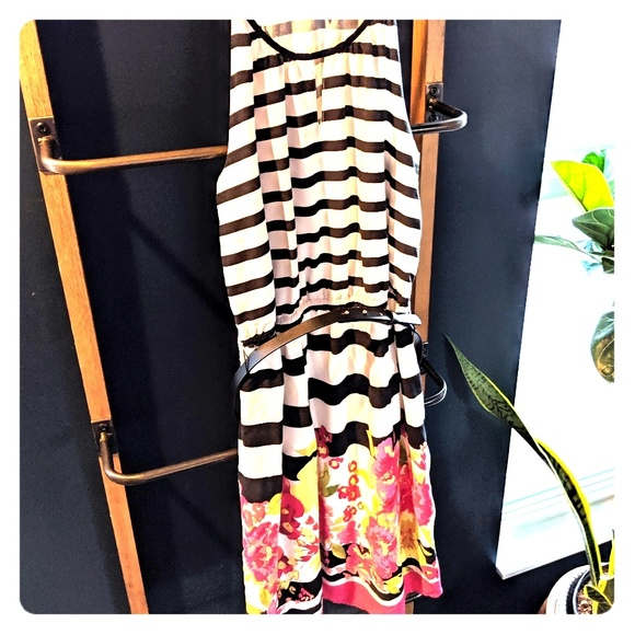 Elle Dresses & Skirts - B&W striped dress w/floral details - by Elle